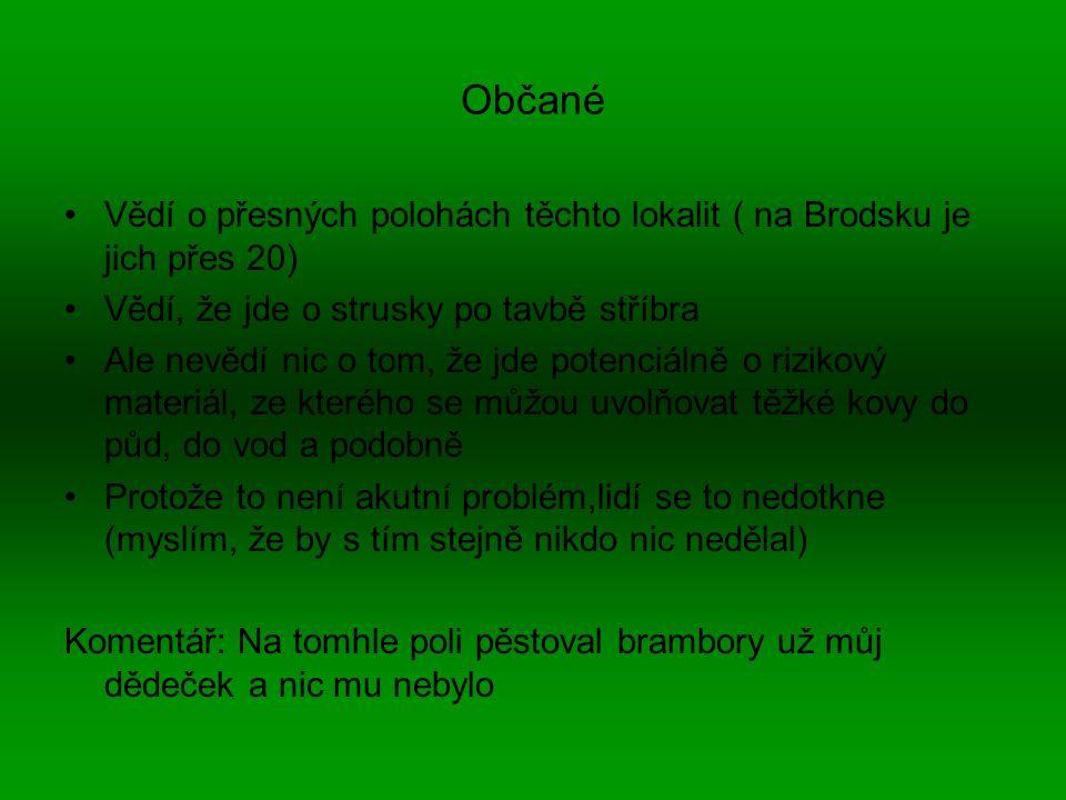 Občané Vědí o přesných polohách těchto lokalit ( na Brodsku je jich přes 20) Vědí, že jde o strusky po tavbě stříbra.