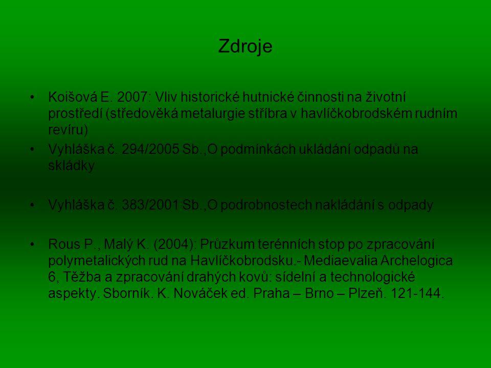 Zdroje Koišová E. 2007: Vliv historické hutnické činnosti na životní prostředí (středověká metalurgie stříbra v havlíčkobrodském rudním revíru)