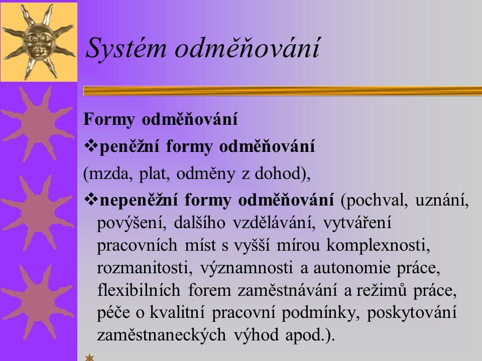 Systém odměňování Formy odměňování peněžní formy odměňování