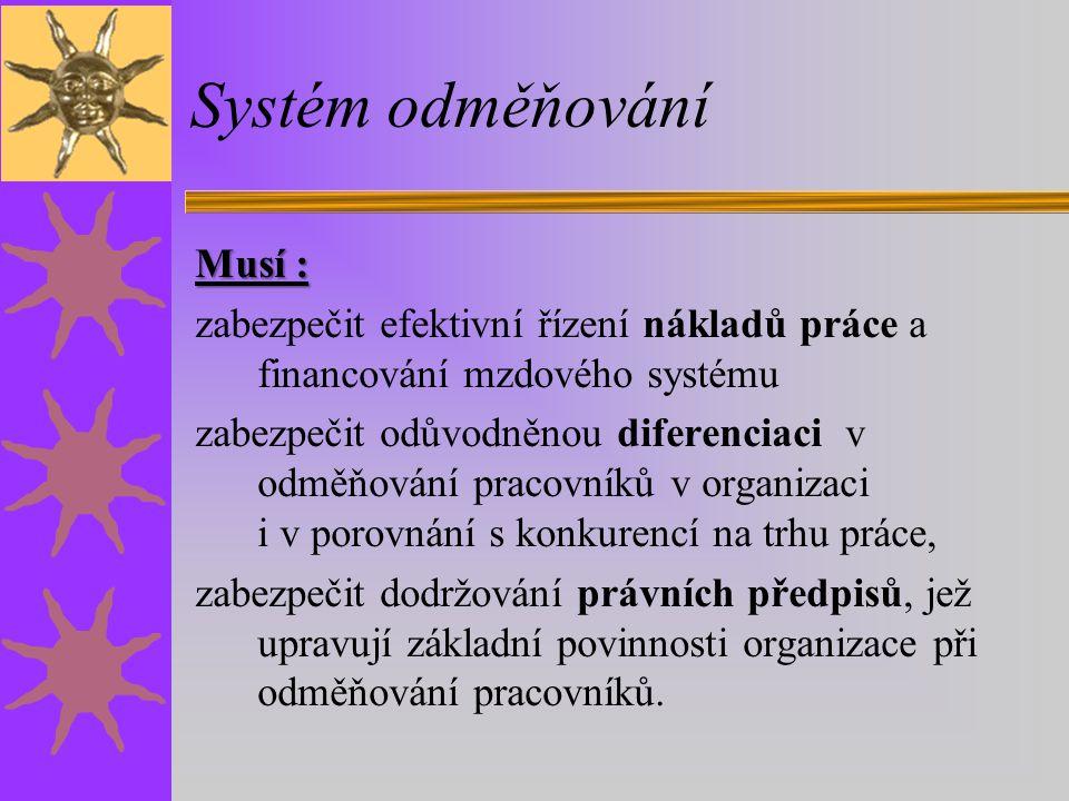 Systém odměňování Musí :