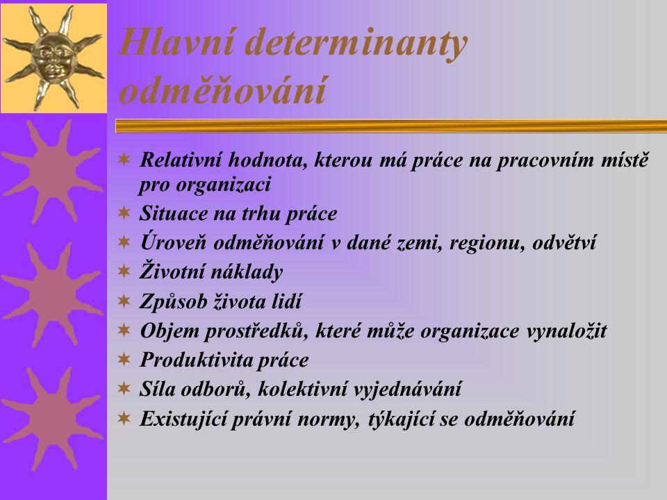 Hlavní determinanty odměňování