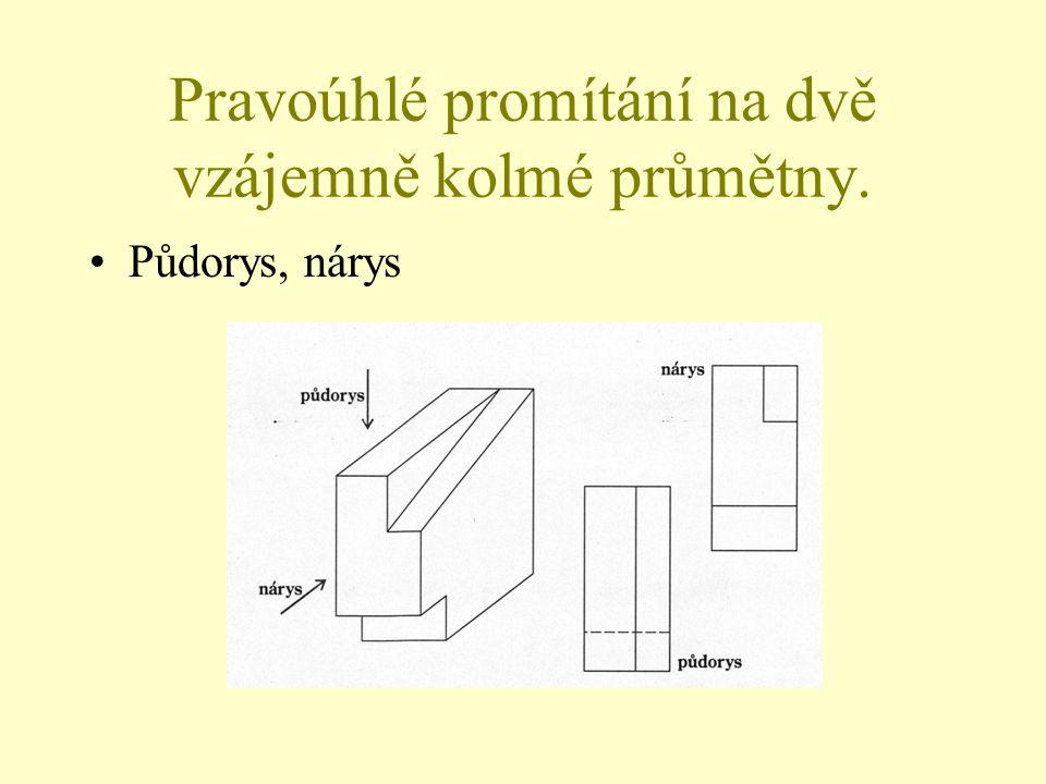 Pravoúhlé promítání na dvě vzájemně kolmé průmětny.