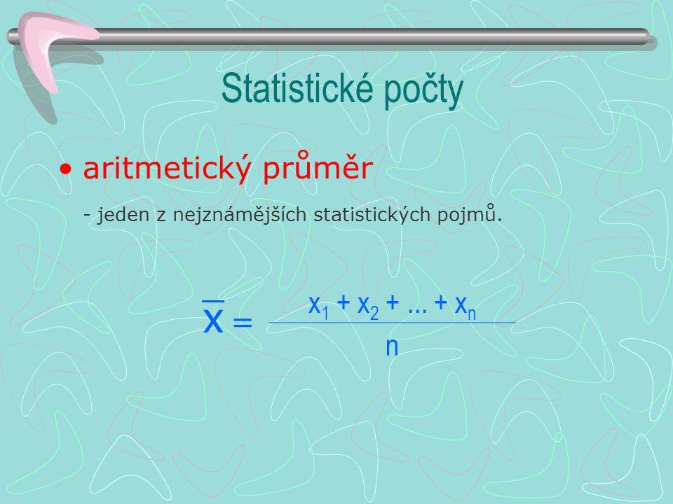 Statistické počty x1 + x2 + ... + xn aritmetický průměr n