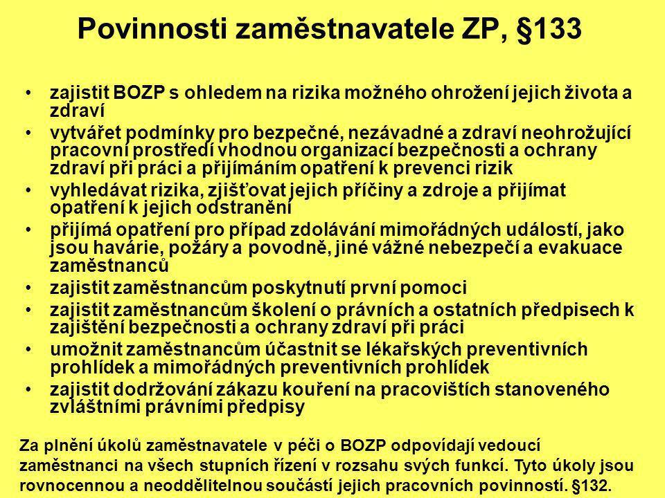 Povinnosti zaměstnavatele ZP, §133