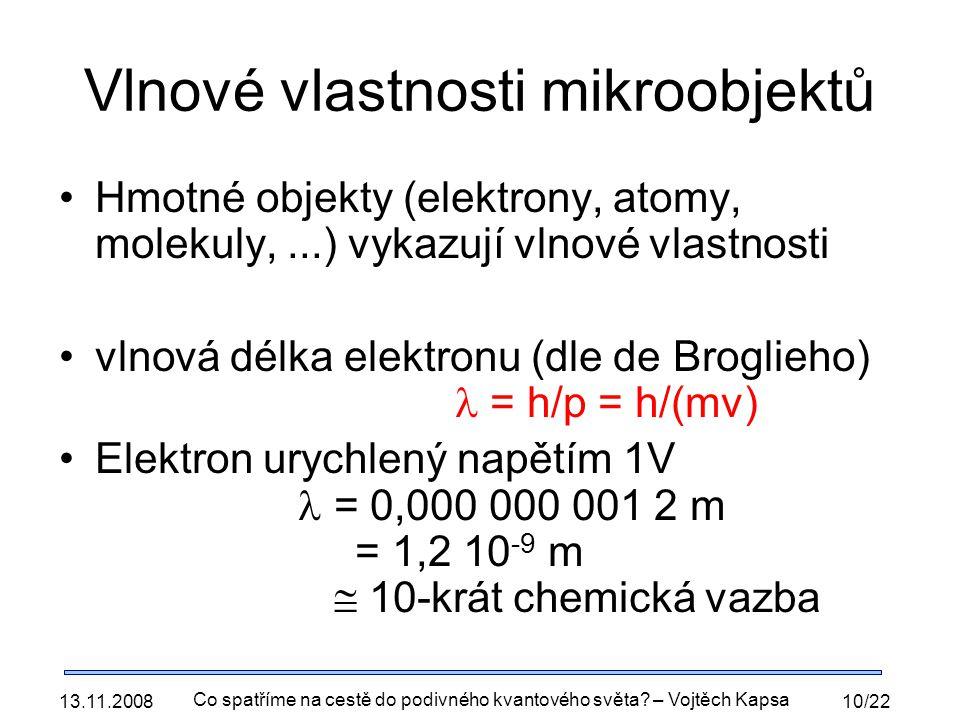 Vlnové vlastnosti mikroobjektů