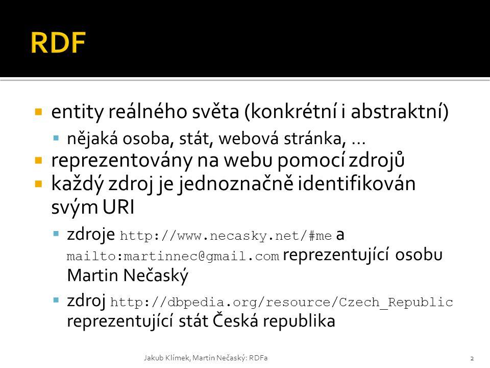RDF entity reálného světa (konkrétní i abstraktní)