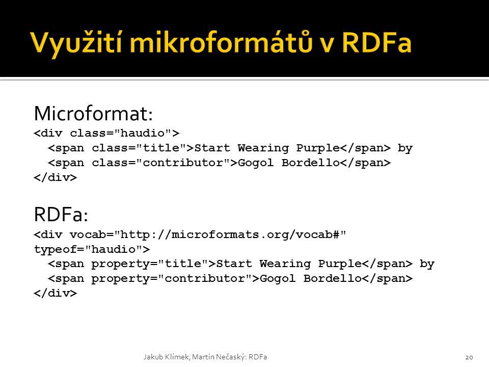 Využití mikroformátů v RDFa