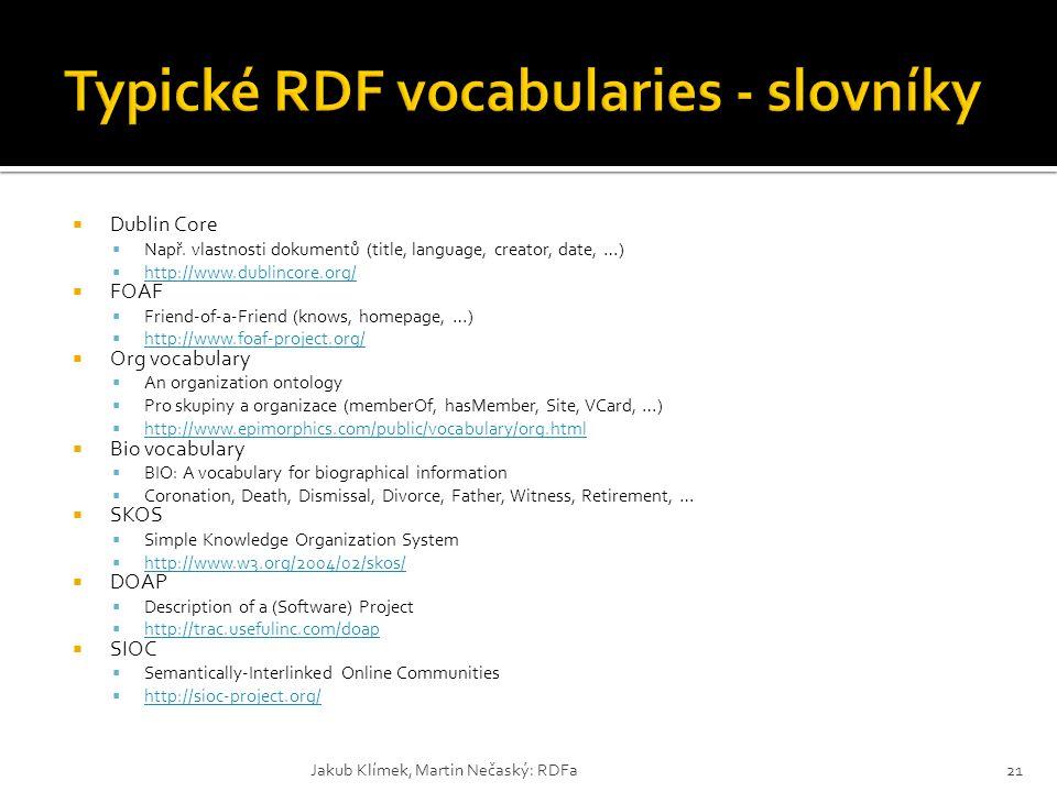 Typické RDF vocabularies - slovníky