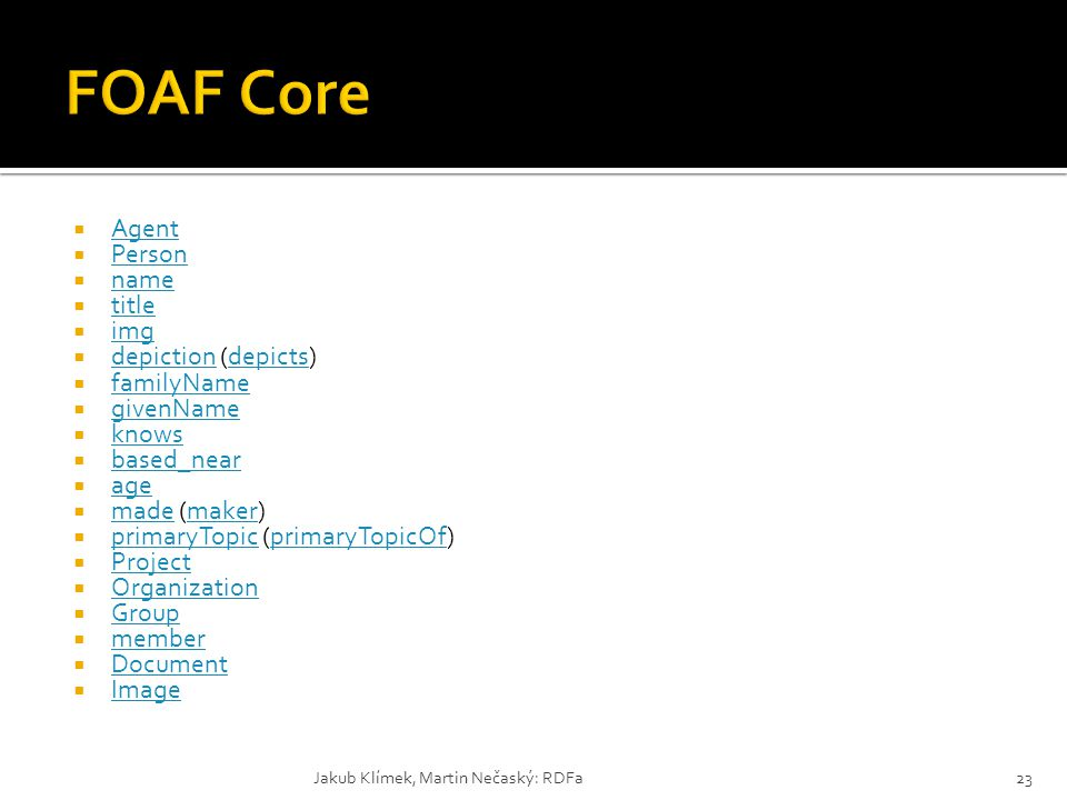 FOAF Core Agent Person name title img depiction (depicts) familyName