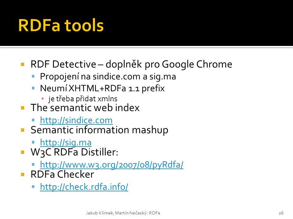 RDFa tools RDF Detective – doplněk pro Google Chrome