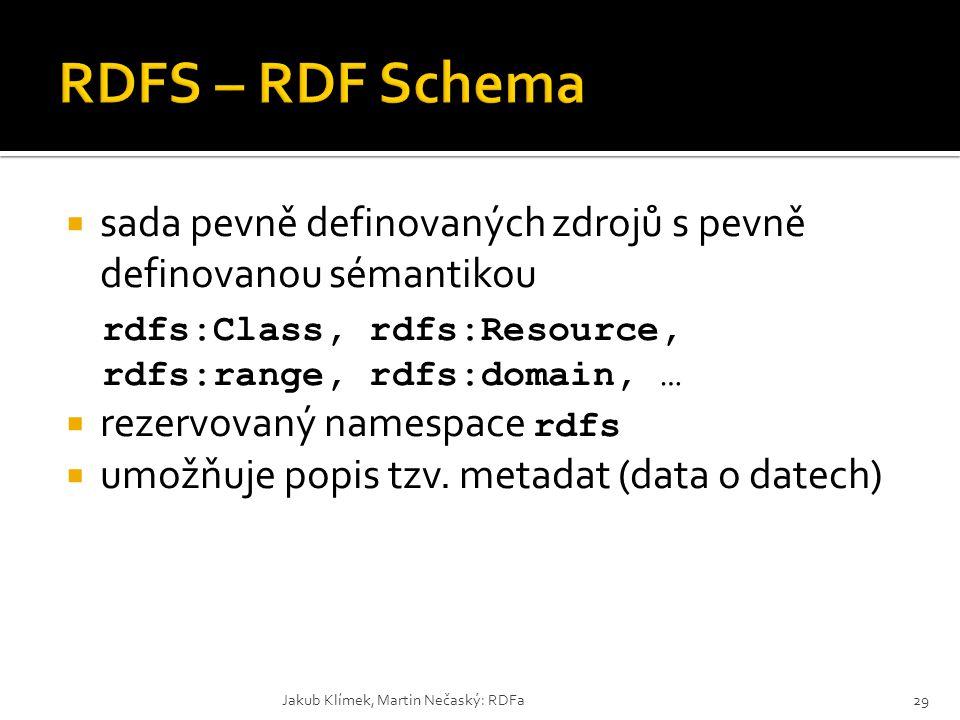 RDFS – RDF Schema sada pevně definovaných zdrojů s pevně definovanou sémantikou. rdfs:Class, rdfs:Resource, rdfs:range, rdfs:domain, …