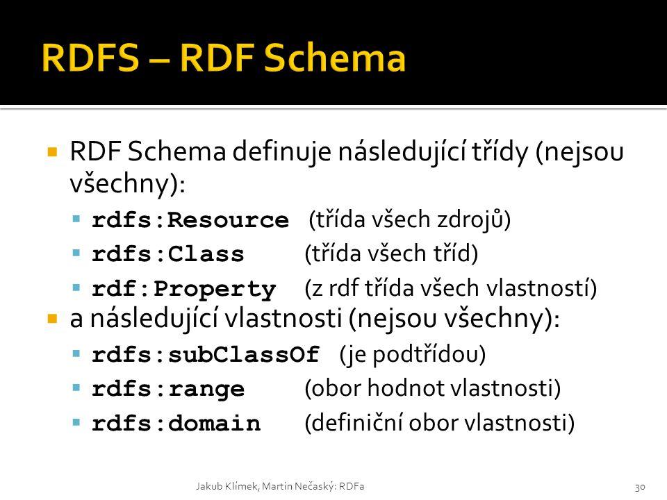 RDFS – RDF Schema RDF Schema definuje následující třídy (nejsou všechny): rdfs:Resource (třída všech zdrojů)