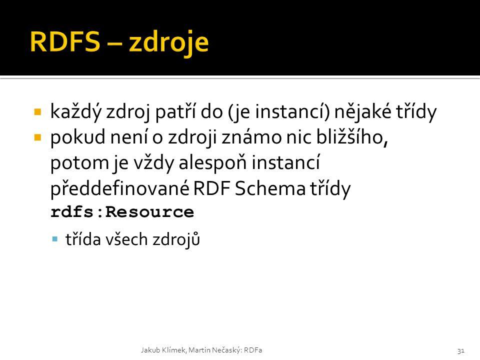 RDFS – zdroje každý zdroj patří do (je instancí) nějaké třídy