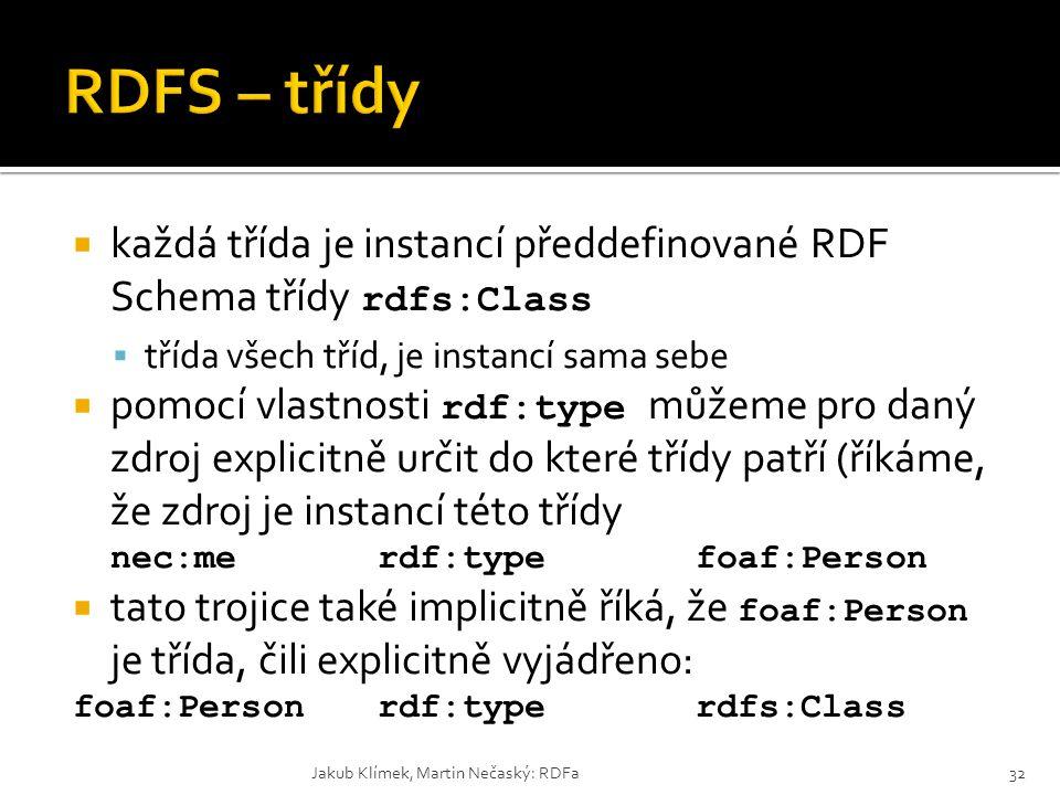 RDFS – třídy každá třída je instancí předdefinované RDF Schema třídy rdfs:Class. třída všech tříd, je instancí sama sebe.