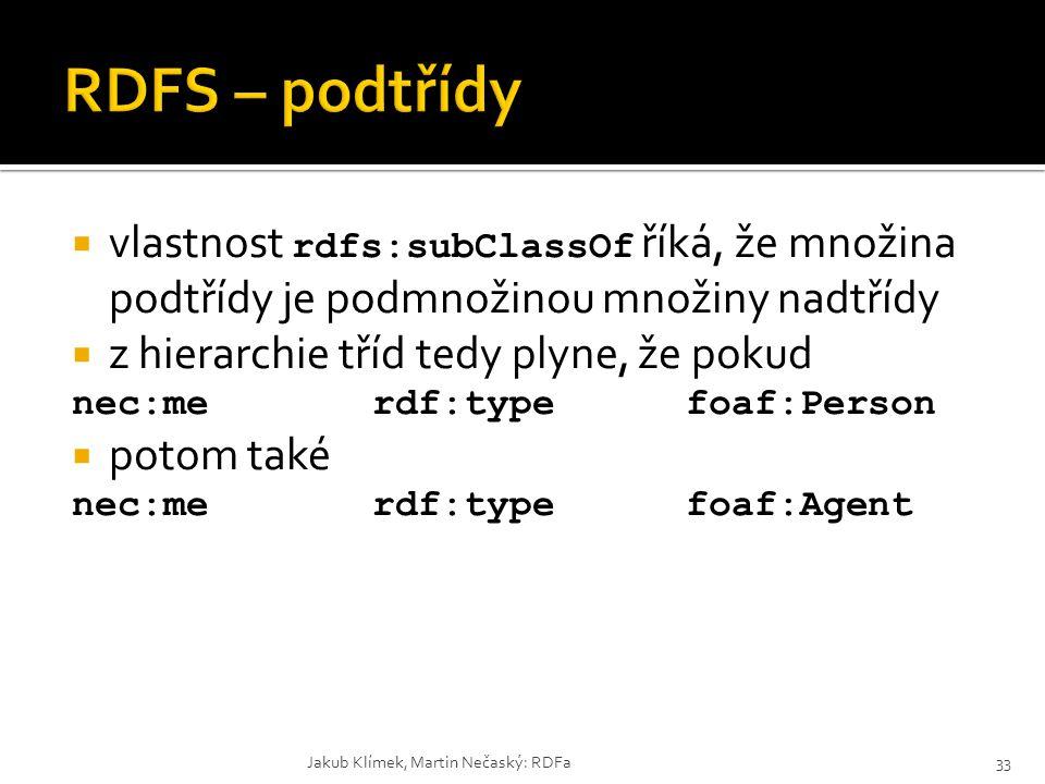 RDFS – podtřídy vlastnost rdfs:subClassOf říká, že množina podtřídy je podmnožinou množiny nadtřídy.