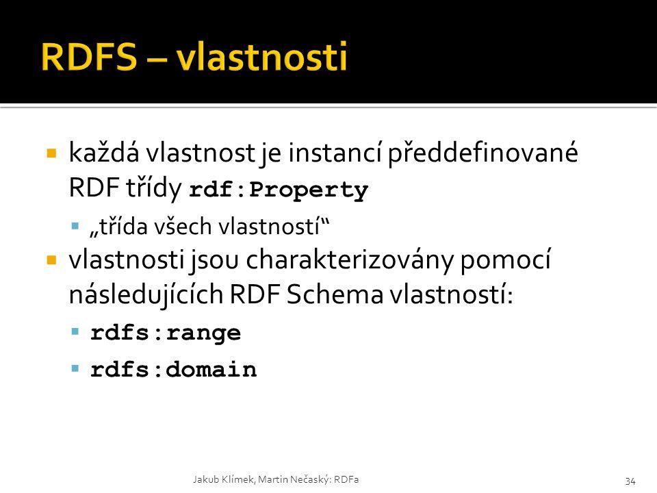 """RDFS – vlastnosti každá vlastnost je instancí předdefinované RDF třídy rdf:Property. """"třída všech vlastností"""