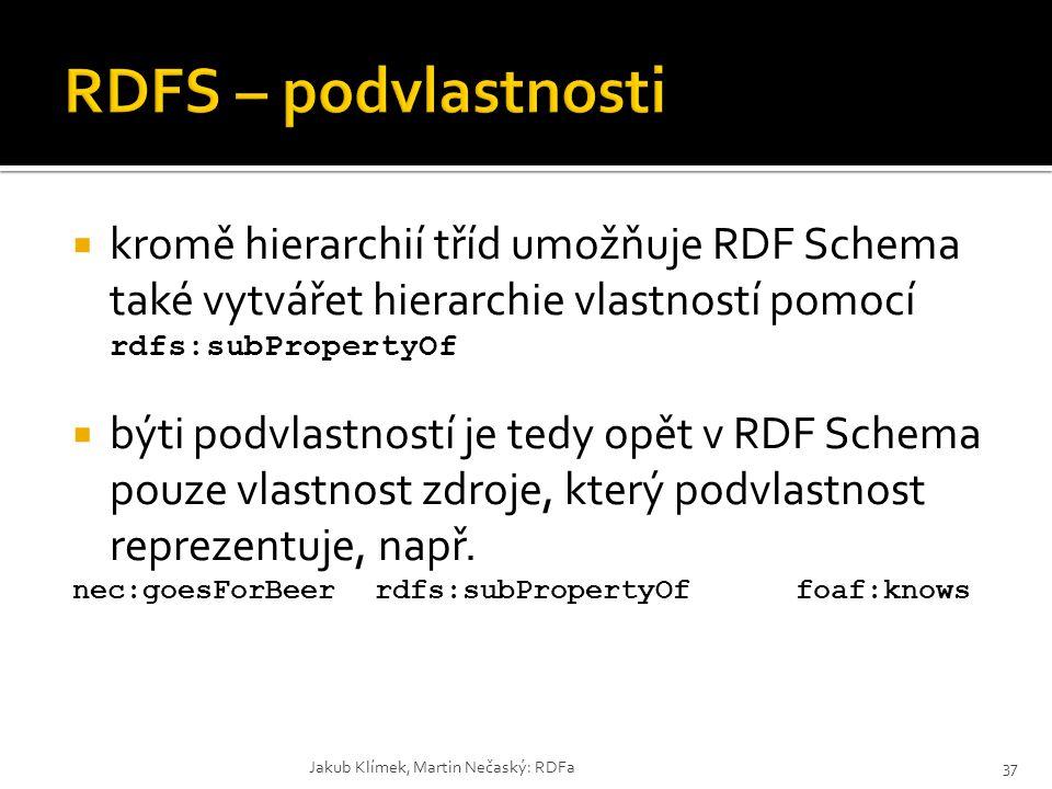 RDFS – podvlastnosti kromě hierarchií tříd umožňuje RDF Schema také vytvářet hierarchie vlastností pomocí rdfs:subPropertyOf.