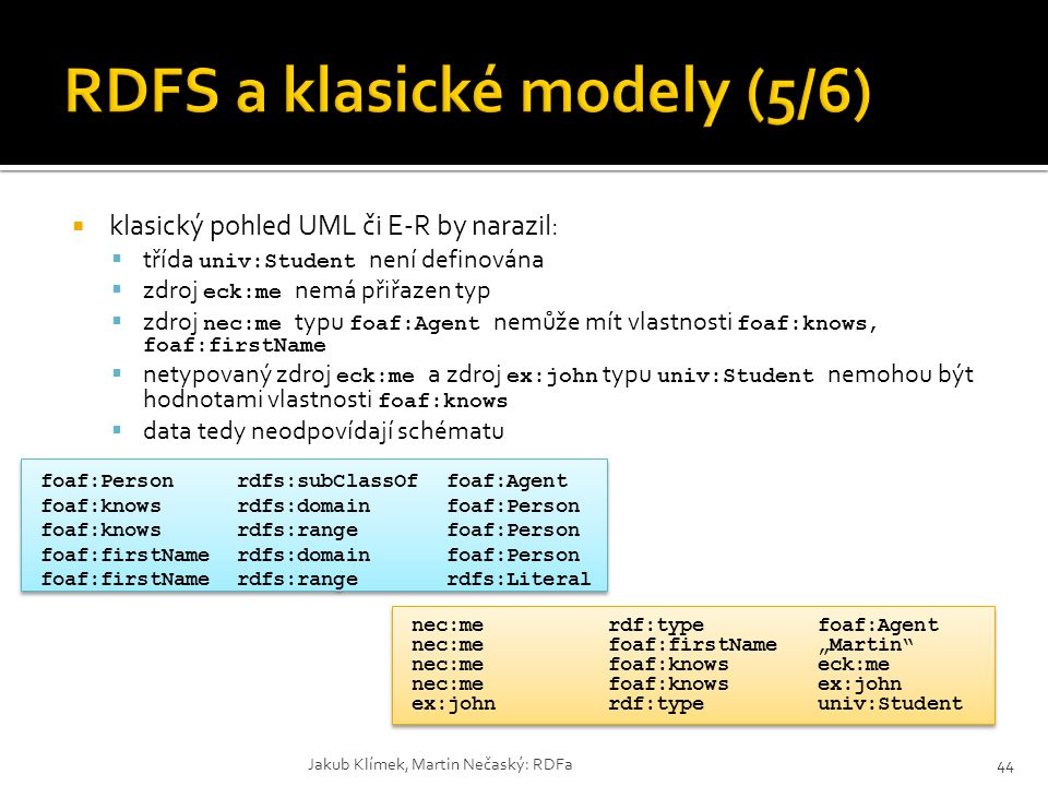 RDFS a klasické modely (5/6)
