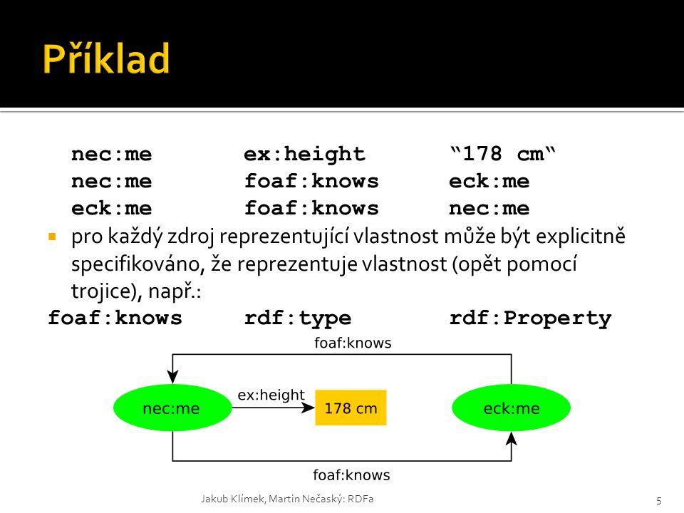 Příklad nec:me ex:height 178 cm nec:me foaf:knows eck:me eck:me foaf:knows nec:me.
