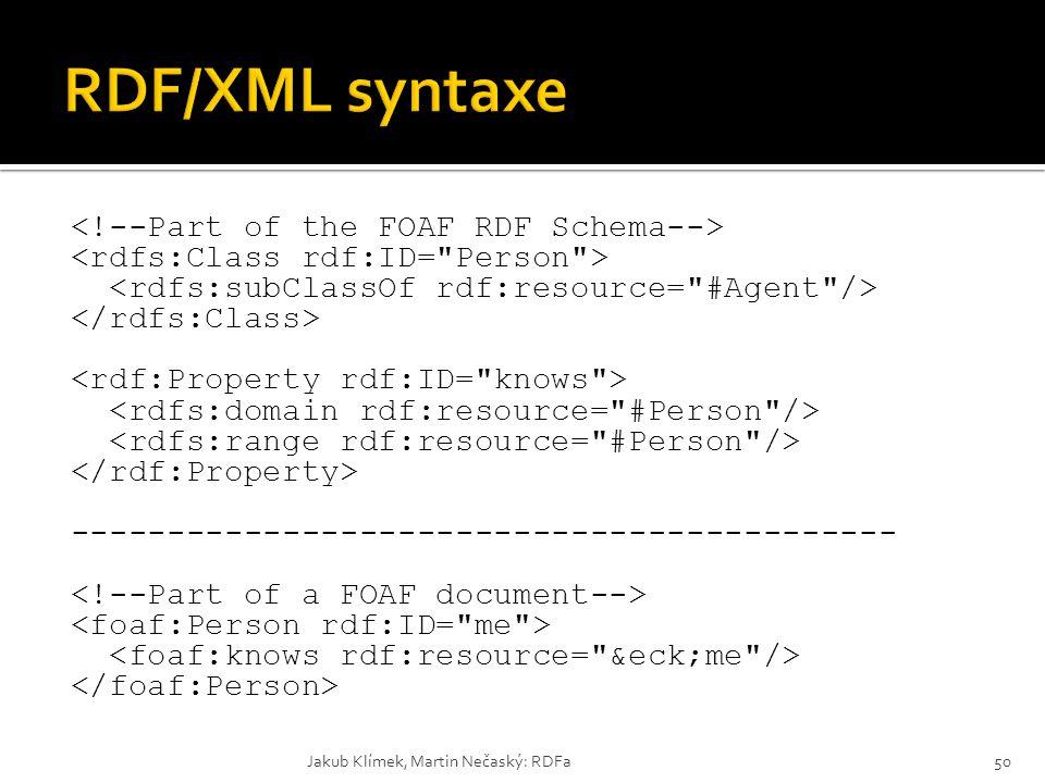 RDF/XML syntaxe <!--Part of the FOAF RDF Schema-->