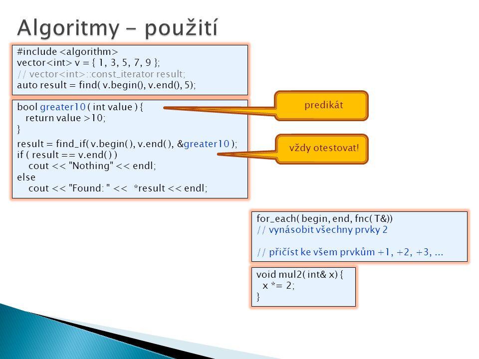 Algoritmy - použití #include <algorithm>