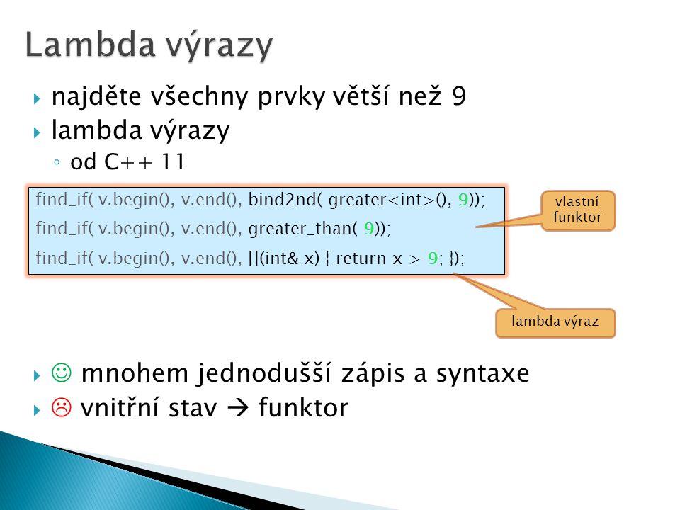 Lambda výrazy najděte všechny prvky větší než 9 lambda výrazy