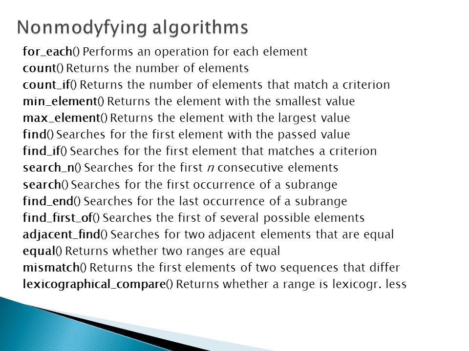 Nonmodyfying algorithms