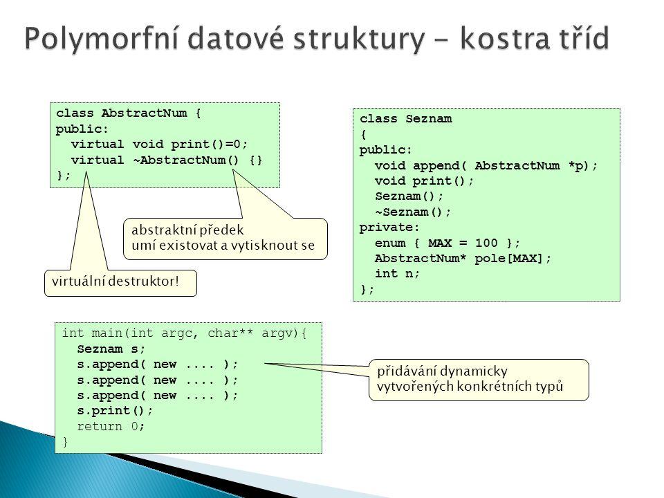 Polymorfní datové struktury - kostra tříd