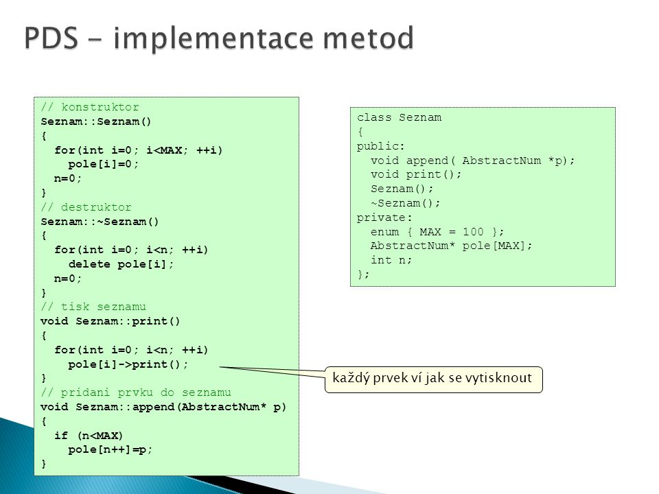 PDS - implementace metod