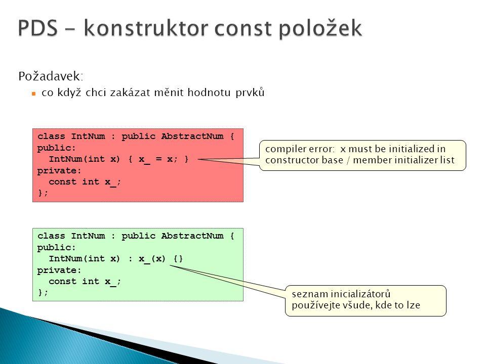 PDS - konstruktor const položek