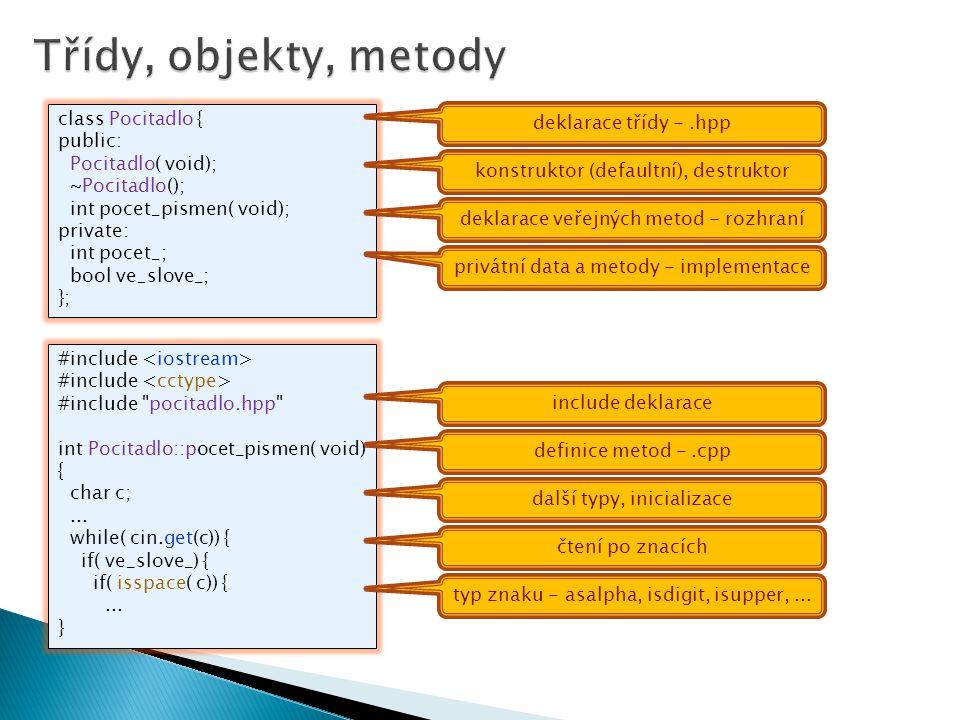 Třídy, objekty, metody class Pocitadlo { deklarace třídy - .hpp