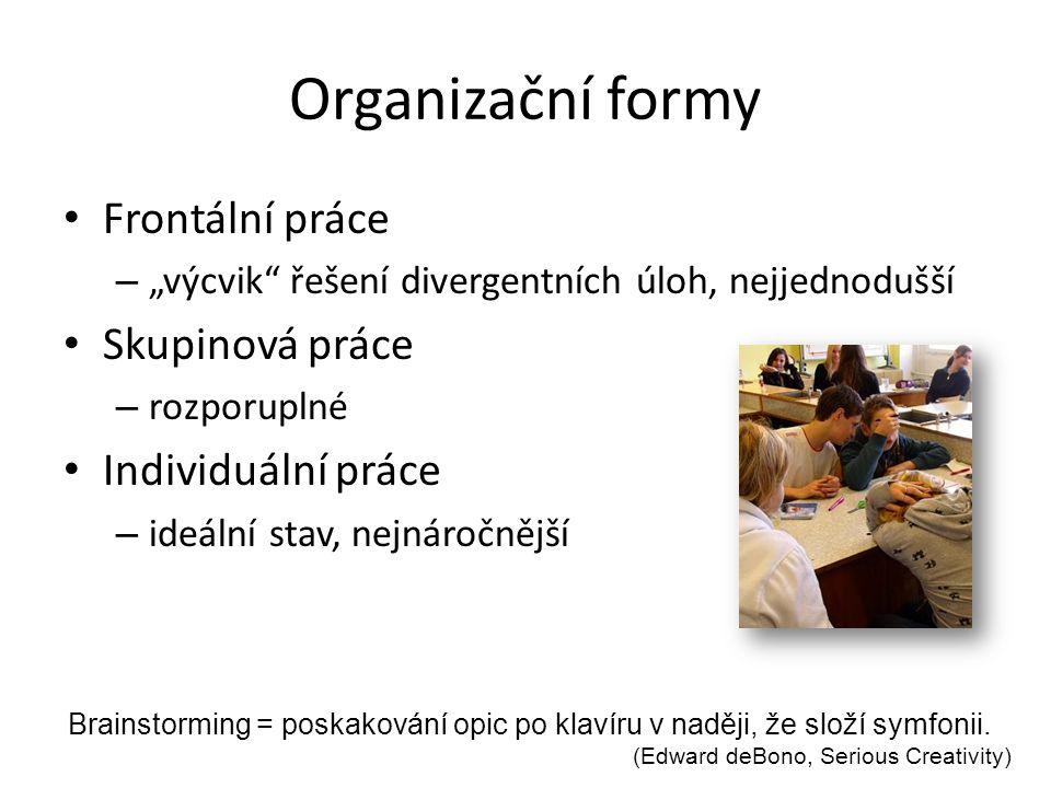 Organizační formy Frontální práce Skupinová práce Individuální práce