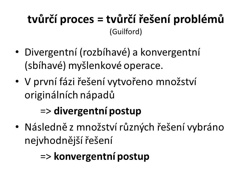 tvůrčí proces = tvůrčí řešení problémů (Guilford)