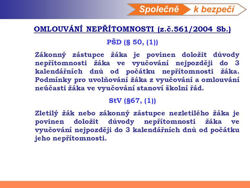 OMLOUVÁNÍ NEPŘÍTOMNOSTI (z.č.561/2004 Sb.)