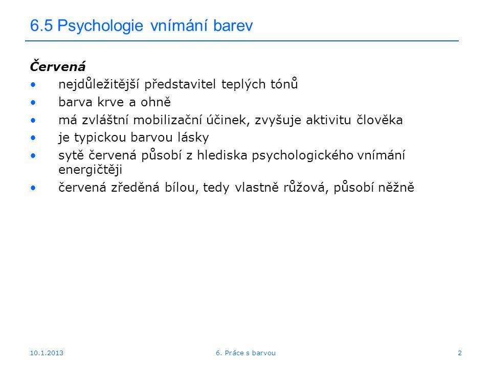 6.5 Psychologie vnímání barev