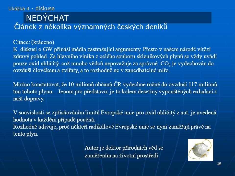 NEDÝCHAT Článek z několika významných českých deníků Citace: (kráceno)