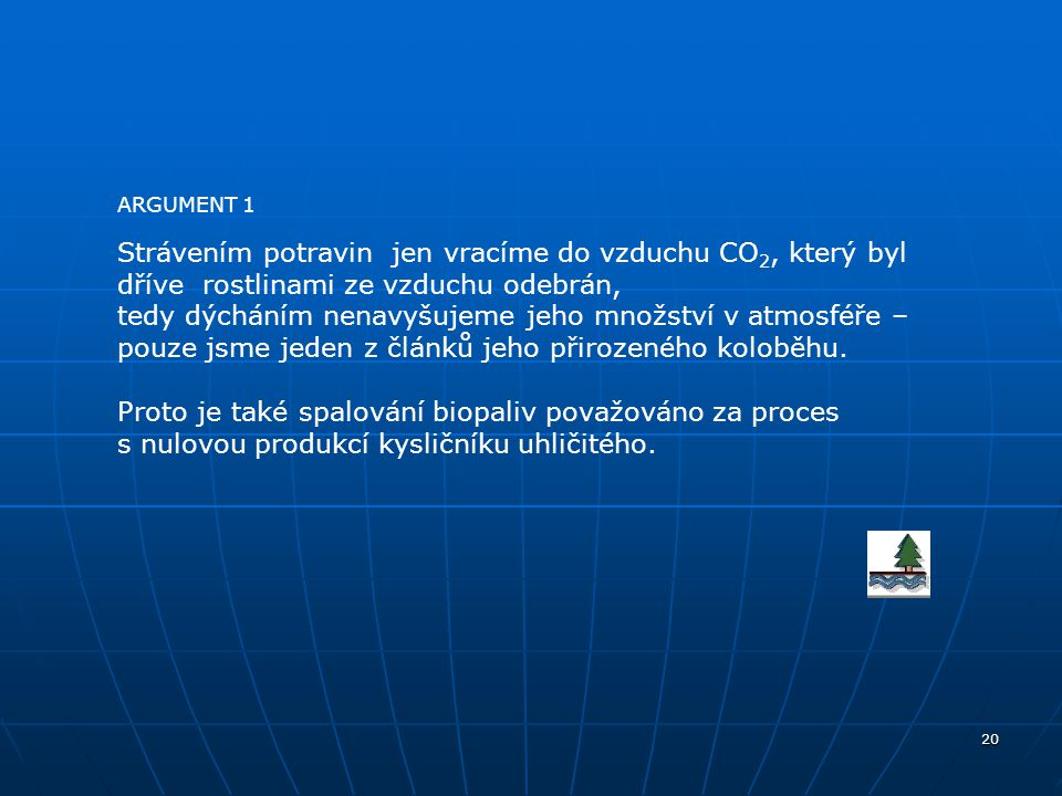 ARGUMENT 1 Strávením potravin jen vracíme do vzduchu CO2, který byl dříve rostlinami ze vzduchu odebrán,