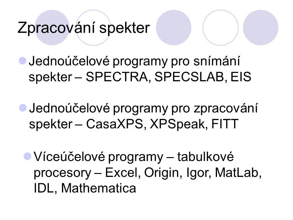 Zpracování spekter Jednoúčelové programy pro snímání spekter – SPECTRA, SPECSLAB, EIS.