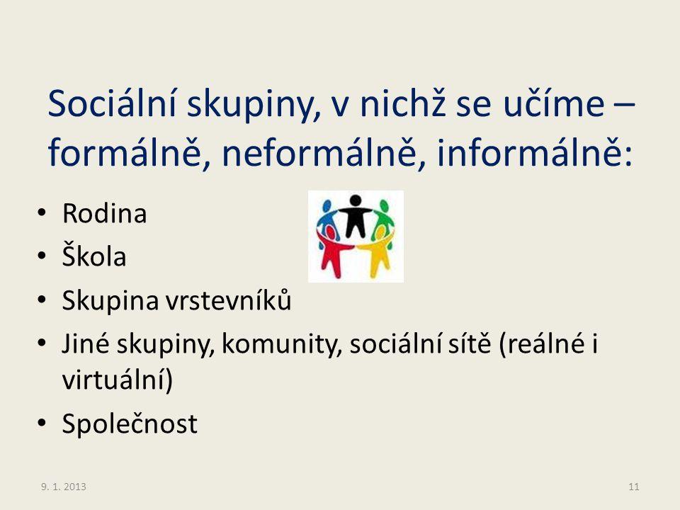 Sociální skupiny, v nichž se učíme – formálně, neformálně, informálně: