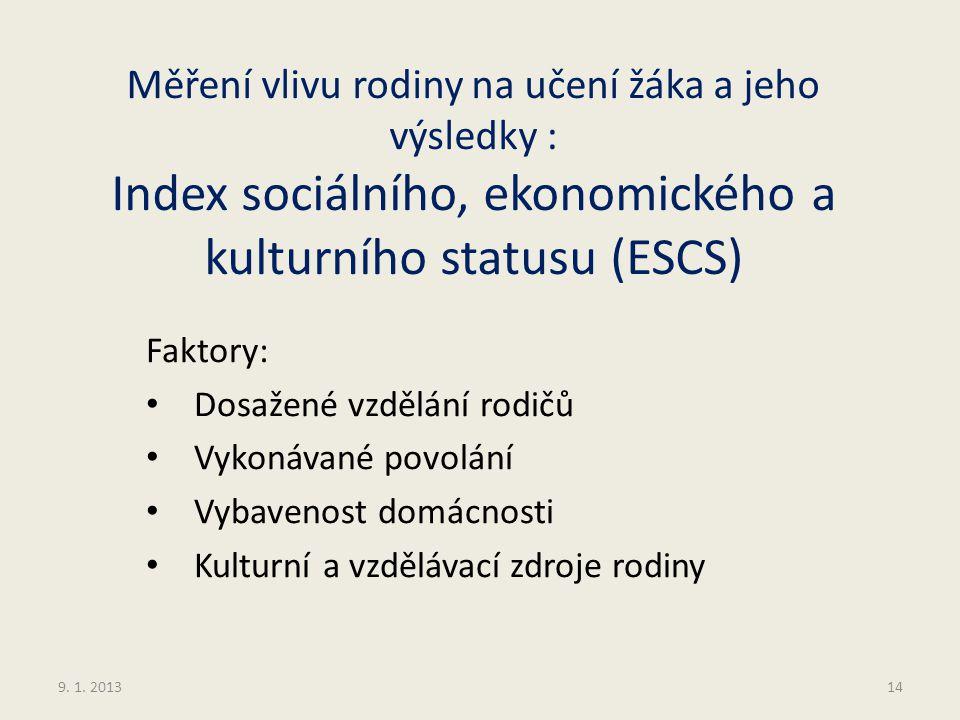 Měření vlivu rodiny na učení žáka a jeho výsledky : Index sociálního, ekonomického a kulturního statusu (ESCS)