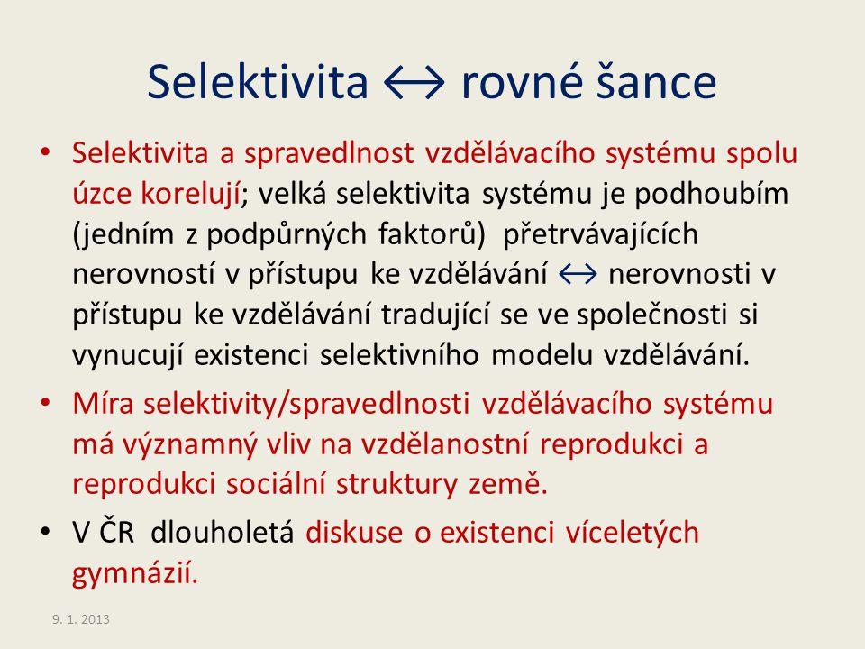 Selektivita ↔ rovné šance