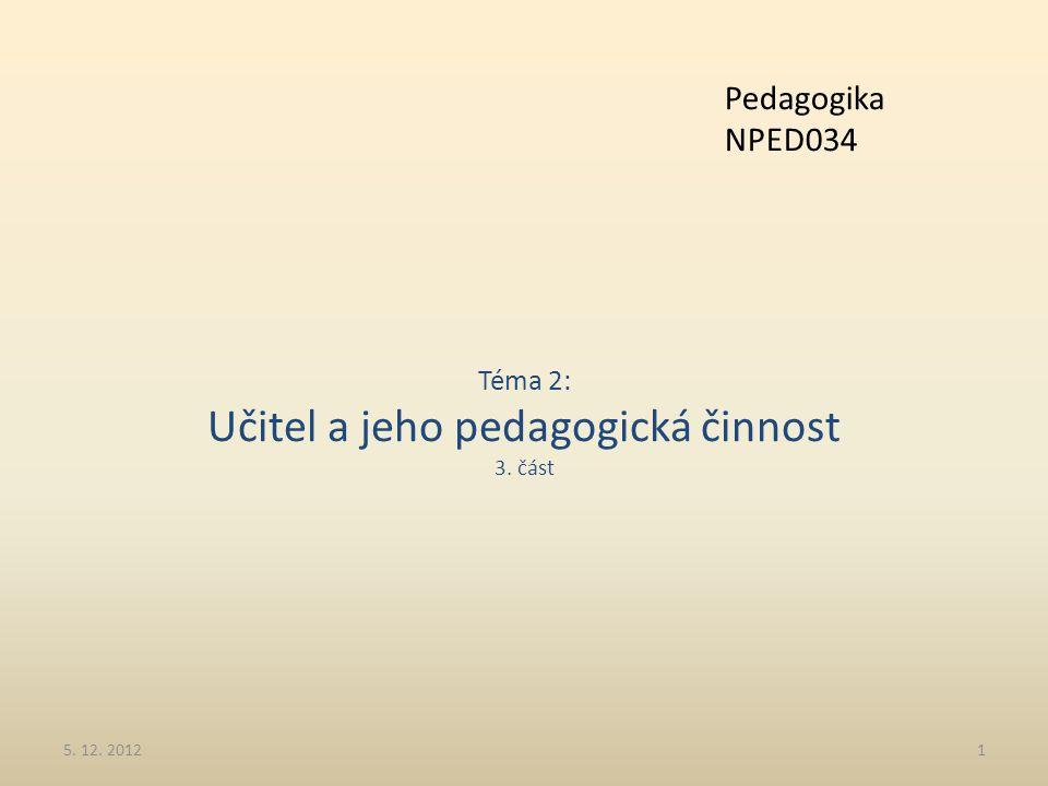 Téma 2: Učitel a jeho pedagogická činnost 3. část