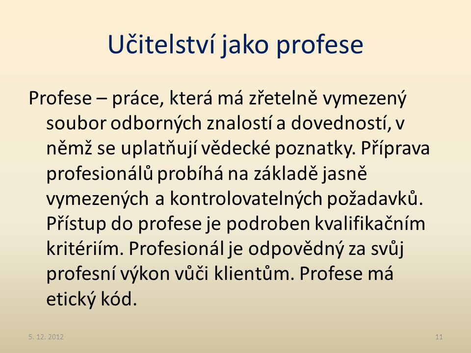 Učitelství jako profese