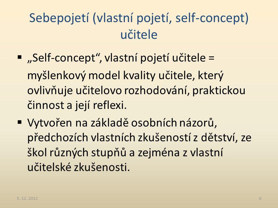 Sebepojetí (vlastní pojetí, self-concept) učitele
