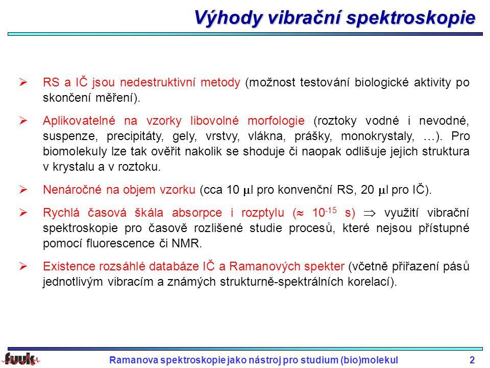Výhody vibrační spektroskopie