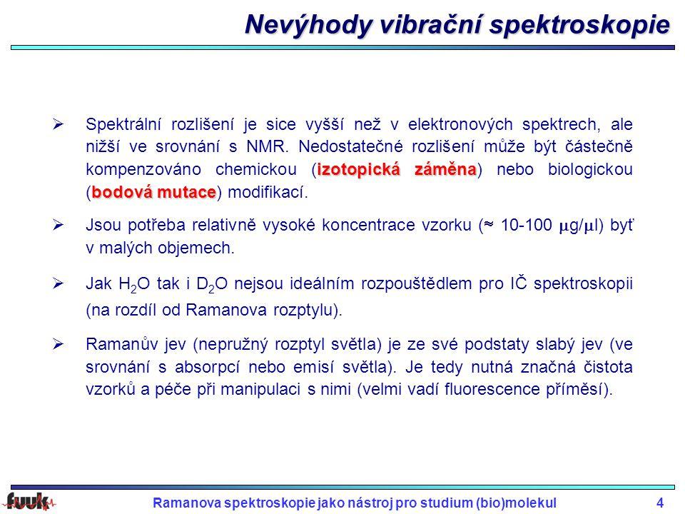 Nevýhody vibrační spektroskopie