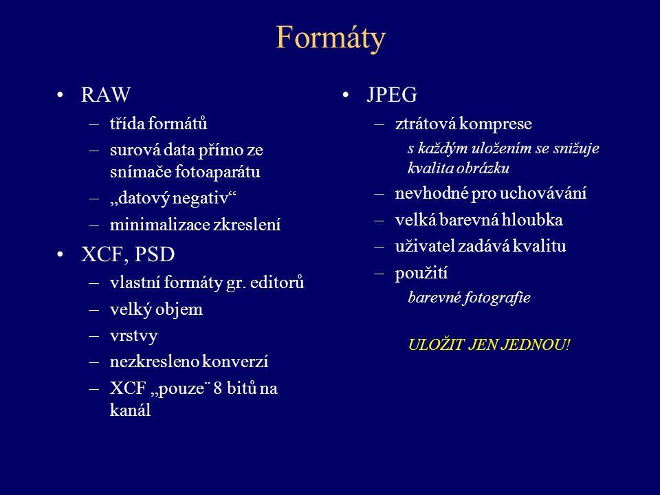 Formáty RAW XCF, PSD JPEG třída formátů