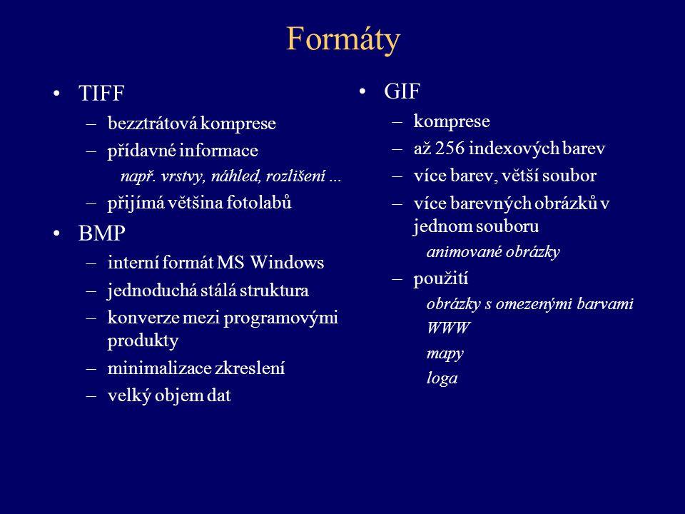 Formáty GIF TIFF BMP komprese bezztrátová komprese