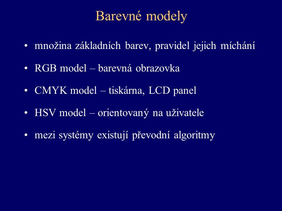 Barevné modely množina základních barev, pravidel jejich míchání