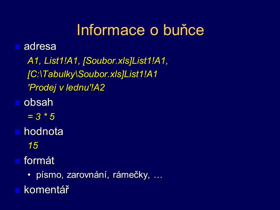 Informace o buňce adresa obsah hodnota formát komentář